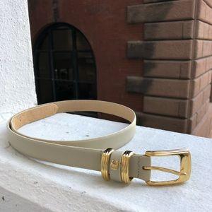 Vintage Etienne Aigner Cream Leather Belt